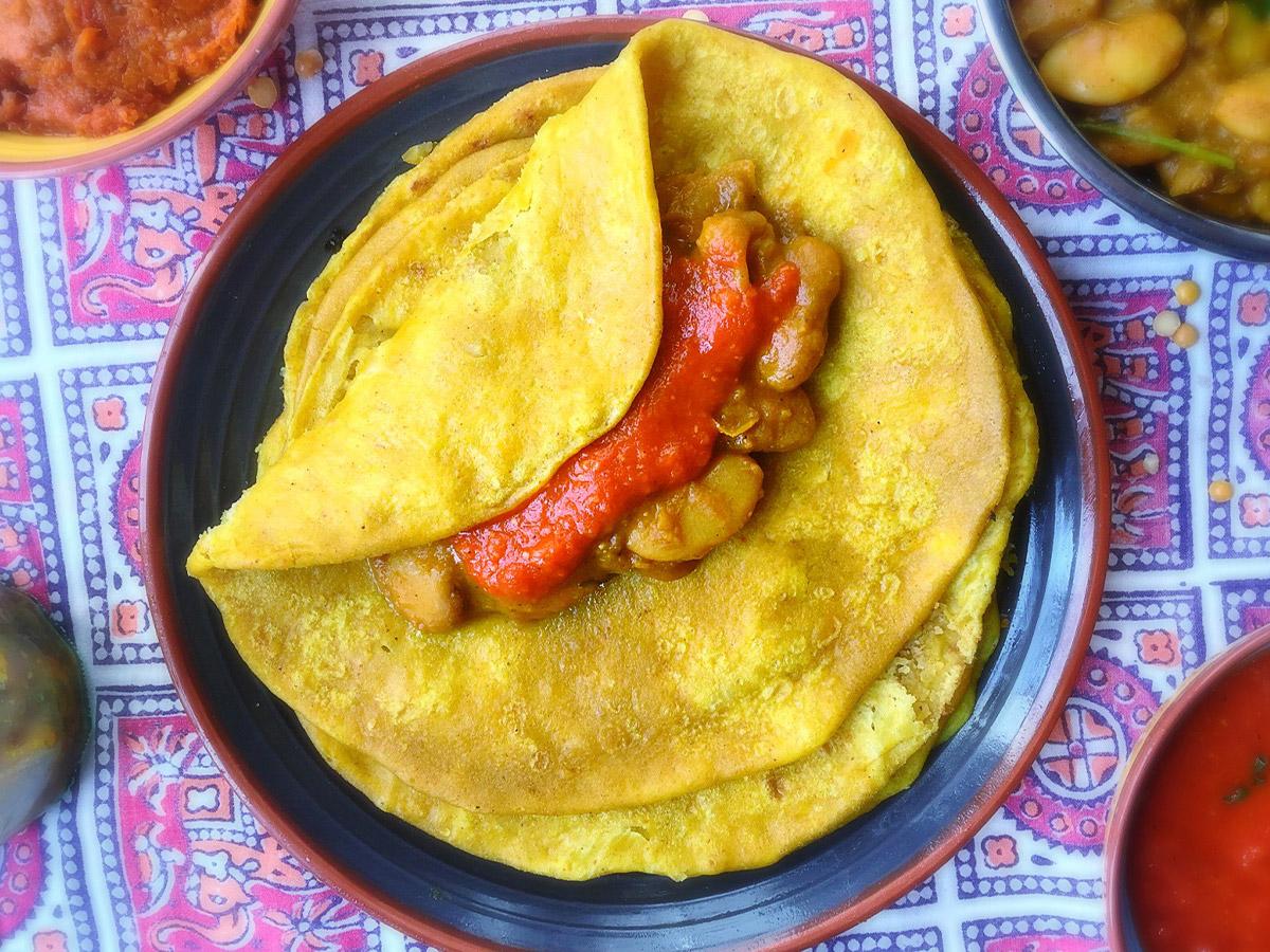 Le dholl puri, typique de l'île