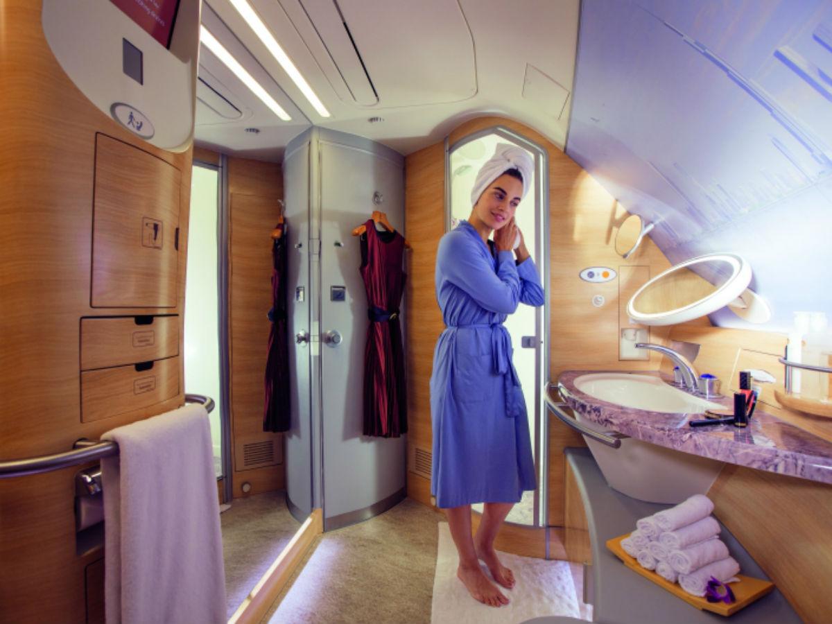 Superbe salle de bain à bord de l'A380