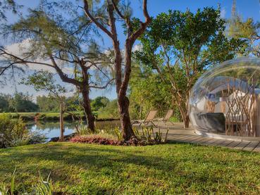 Superbe vue sur le lac depuis la bulle Lake & Sea View à l'île aux Cerfs