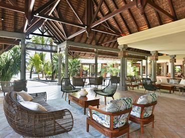 Le lobby de l'hôtel Dinarobin à l'île Maurice
