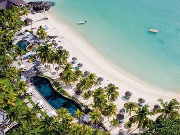 Vue aérienne du Royal Palm Hotel au nord de l'île Maurice