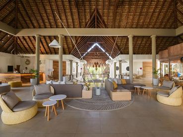 Le lobby de l'hôtel Le Canonnier à l'île Maurice