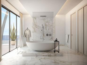 Relaxez-vous dans la salle de bain de votre suite au LUX* Grand Baie