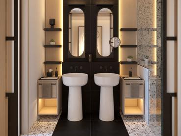 La salle de bain des suites du LUX* Grand Baie, aux allures de palace