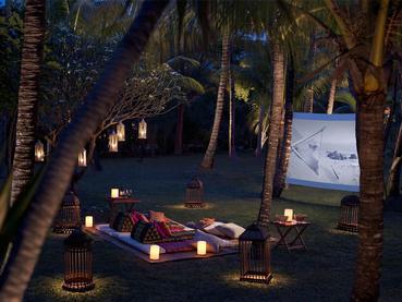 Cinéma en plein air de l'hôtel Shangri-La