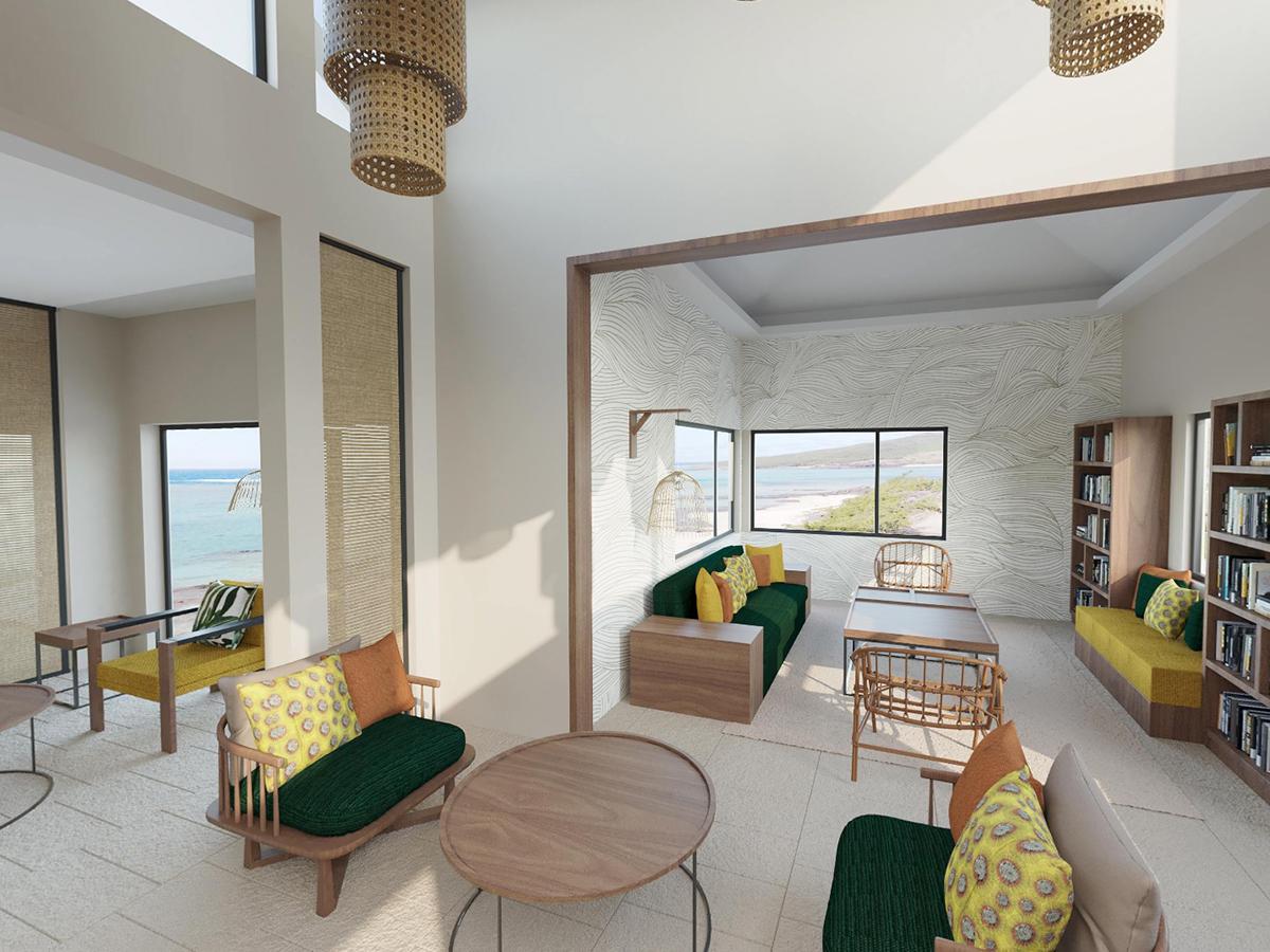 Le lobby de l'hôtel Tekoma à l'île Rodrigues