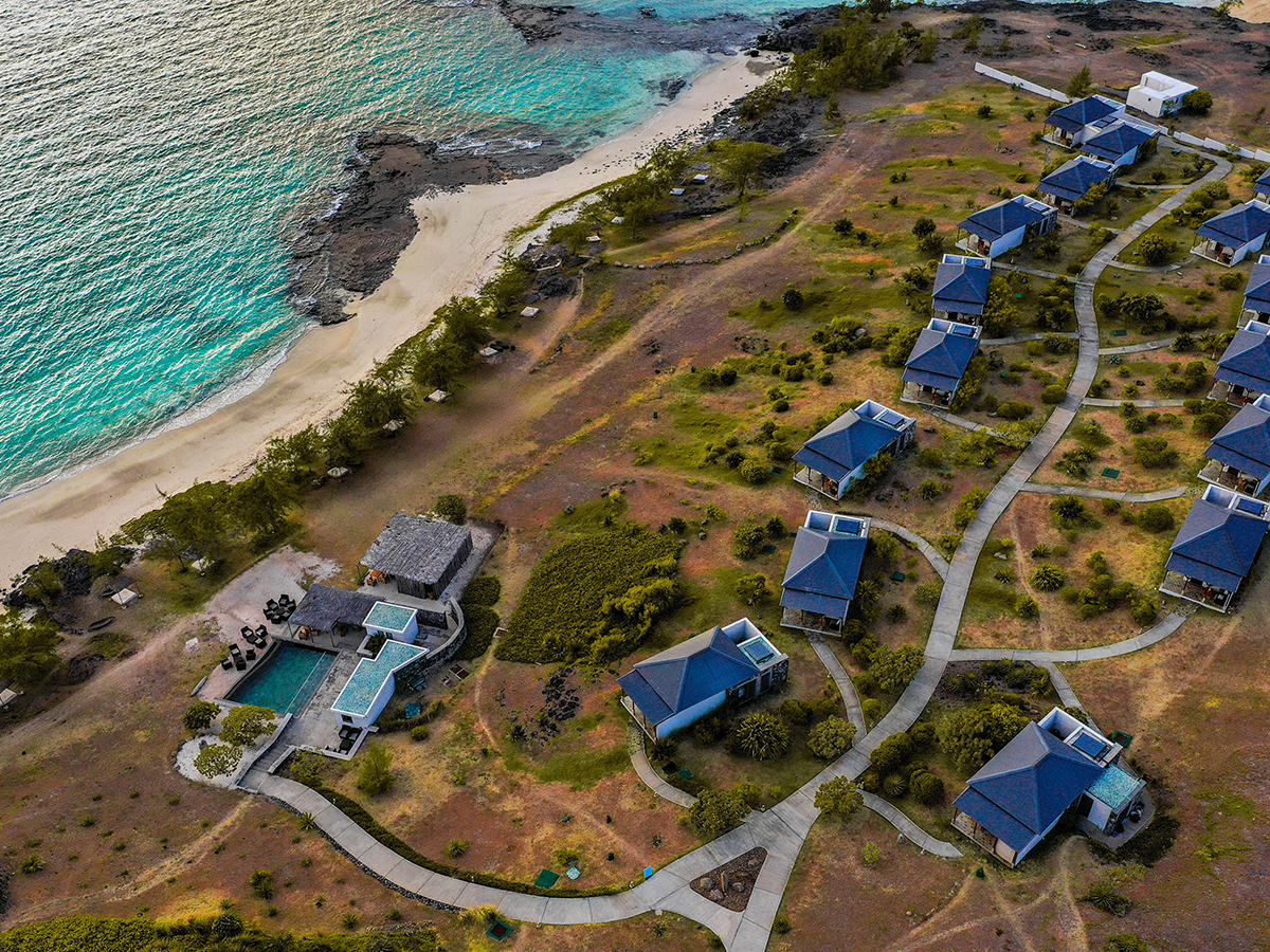 Vue aérienne de l'hôtel Tekoma à l'île Rodrigues